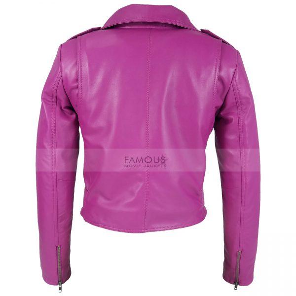 Jessica Alba Hot Pink Leather Jacket