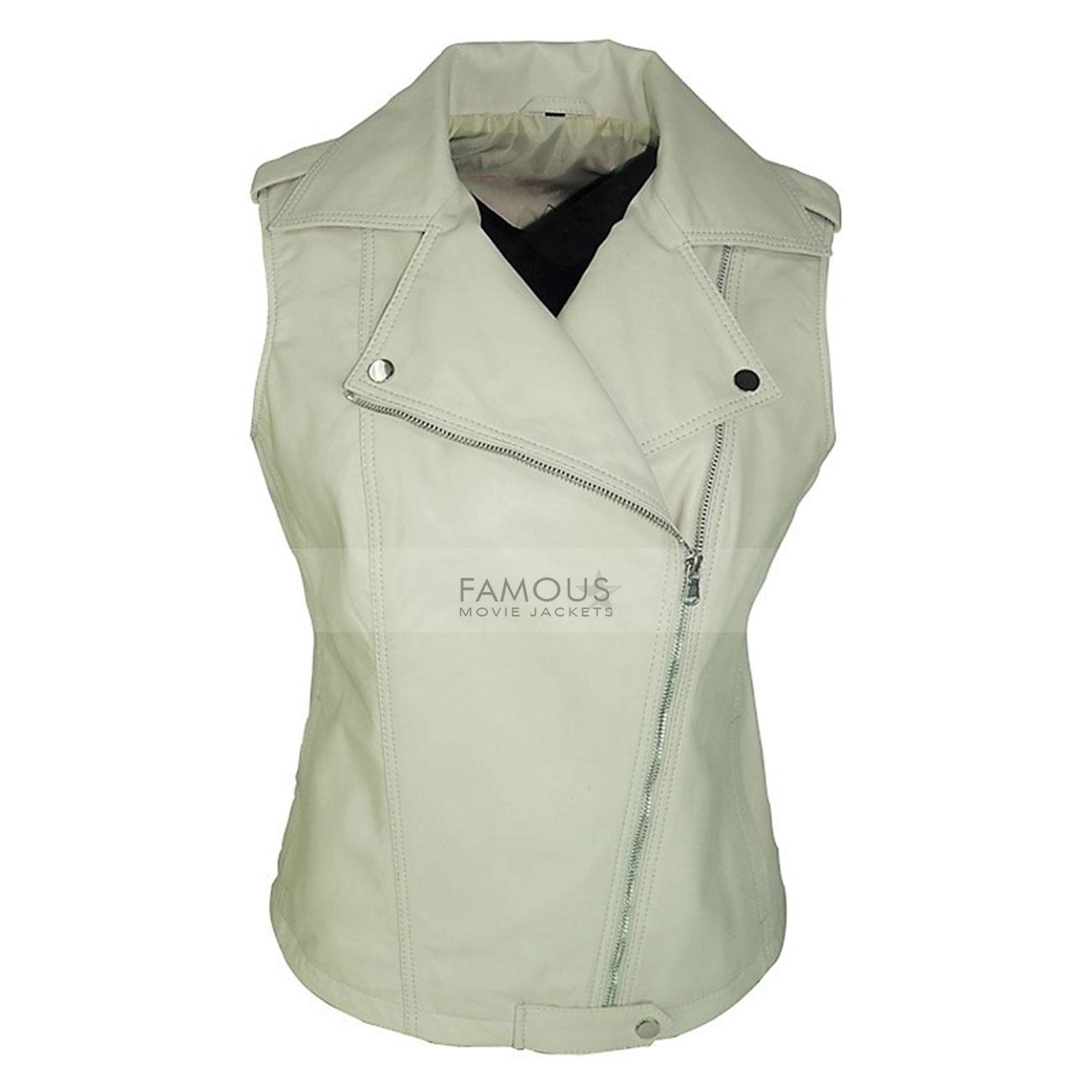 Female White Designer Real Leather Biker Vest UK