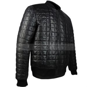 Aubrey Drake Black Quilted Bomber Leather Jacket