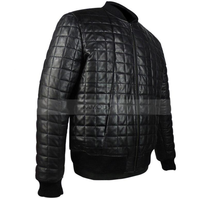 Aubrey Drake Black Quilted Bomber Leather Jacket