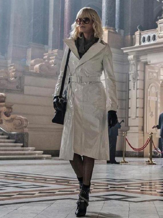 Atomic Blonde Charlize Theron White Coat