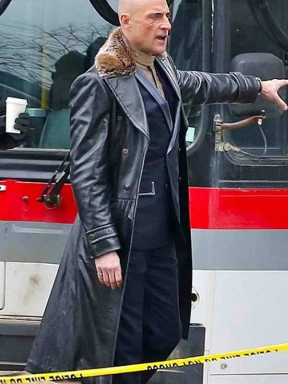 Mark Strong Shazam Dr. Thaddeus Sivana Fur Black Leather Coat