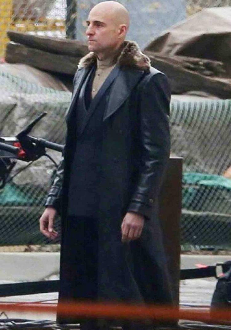 Mark Strong Shazam Dr. Thaddeus Sivana Fur Black Leather Coat