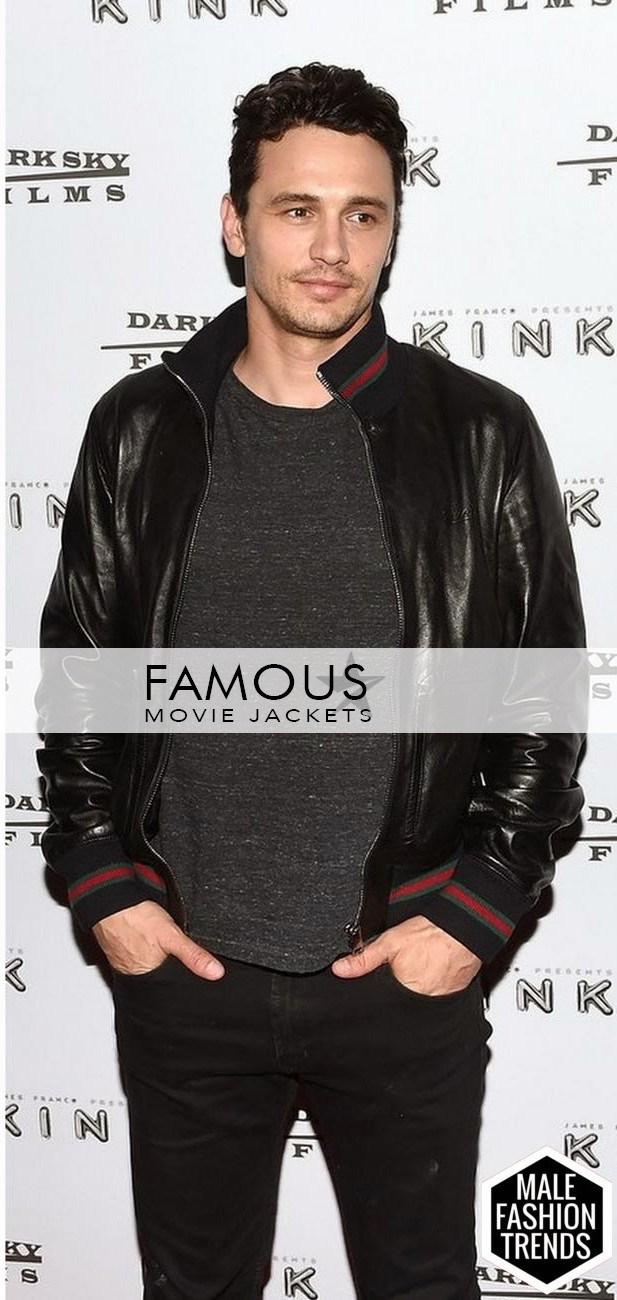 341eabd46 James Franco Gucci Leather Bomber Jacket - Designer Leather Jackets ...