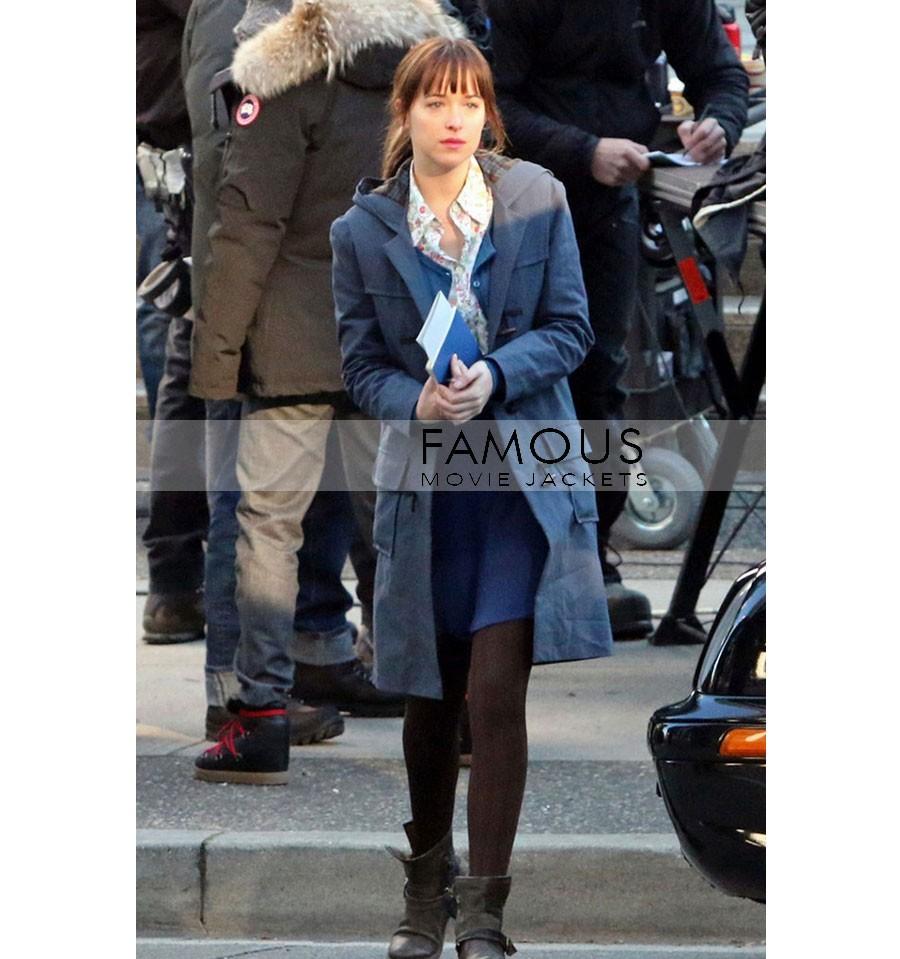Fifty Shades of Grey Dakota Johnson Blue Cotton Coat