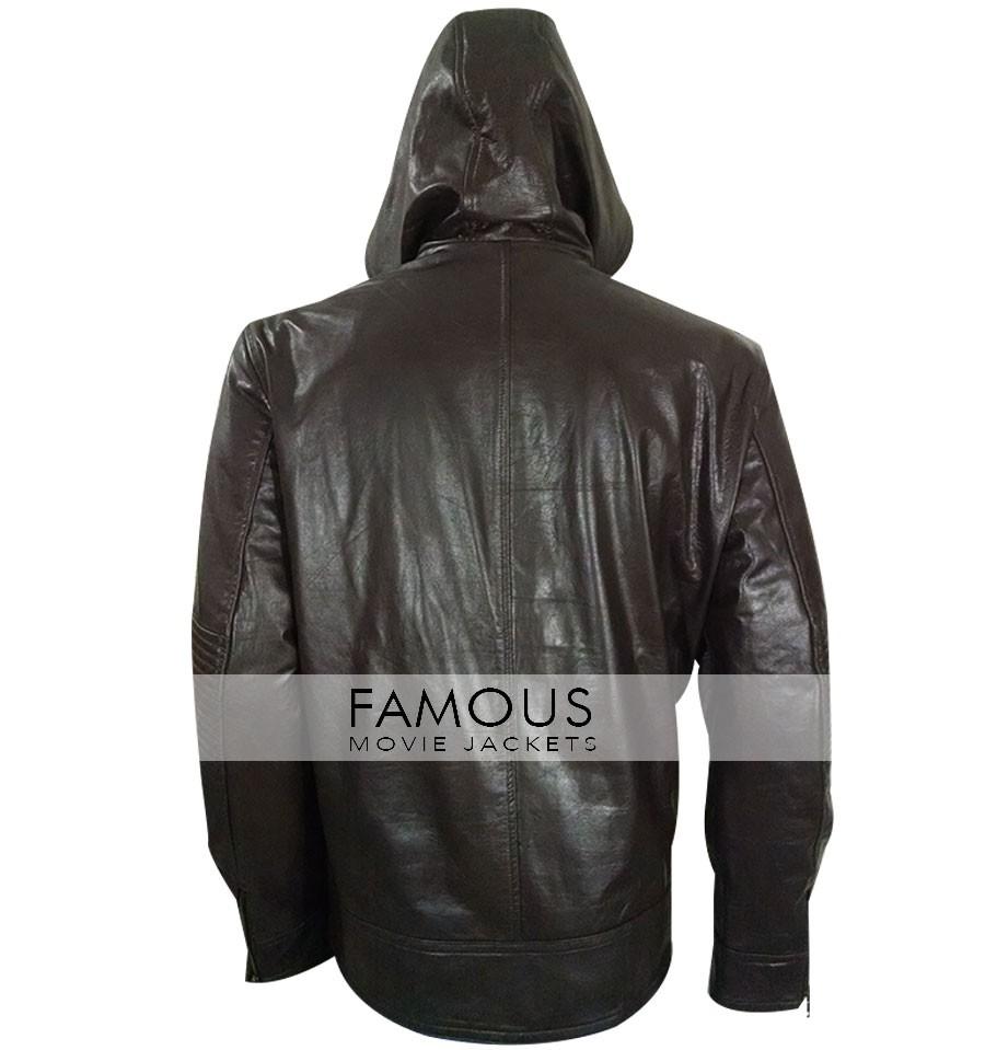 Tom Cruise Mission Impossible Movie Mens Black Slim Fit Hood Real Leather Jacket