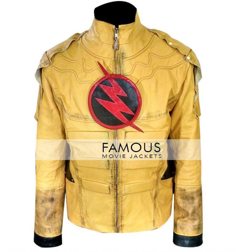 Superhero Reverse Flash Cosplay Leather Jacket Costume