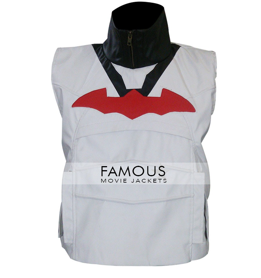 247f82800ac Batman Arkham Knight Red Hood White Leather Vest -FMJ