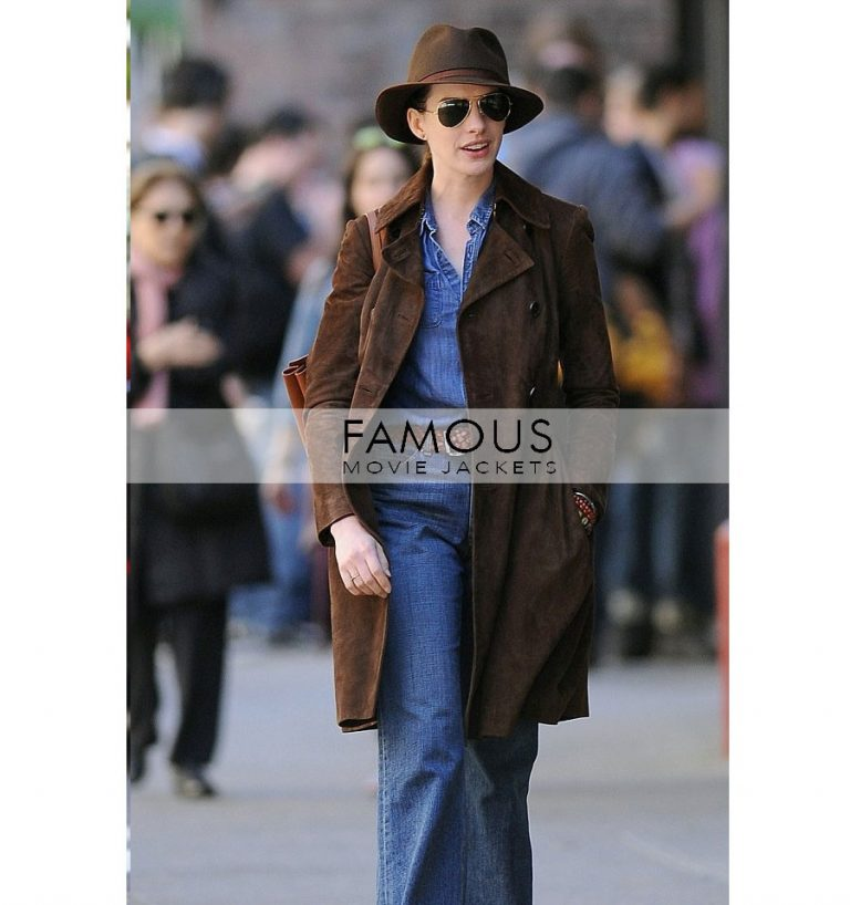 Anne Hathaway Brown Suede Trench Long Coat in Newyork