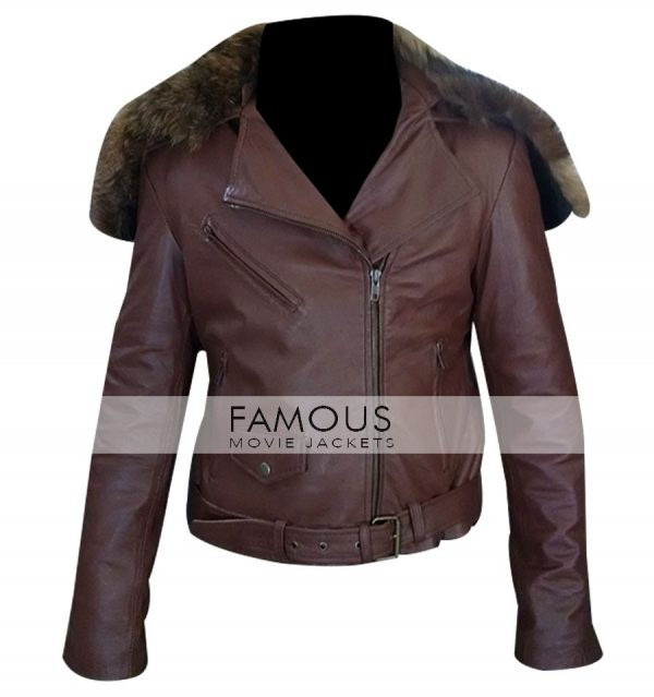 Rihanna Brown Fur Collar Belted Leather Jacket