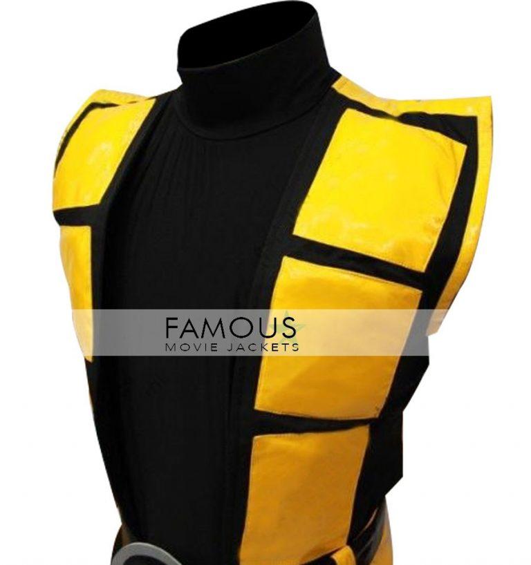 Mortal Kombat X Scorpion Leather Vest Costume Jacket