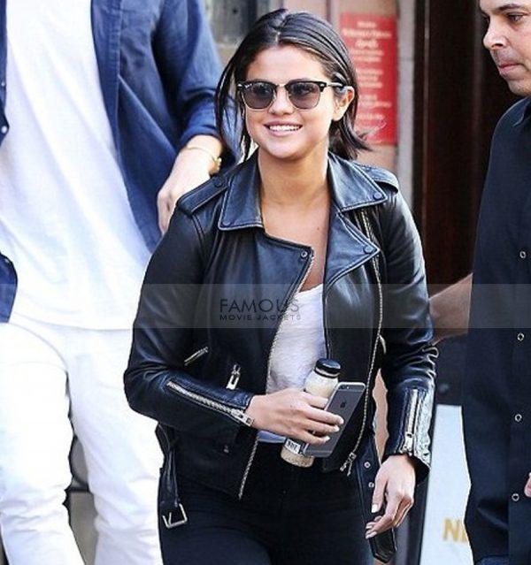 Selena Gomez Black Leather Jacket