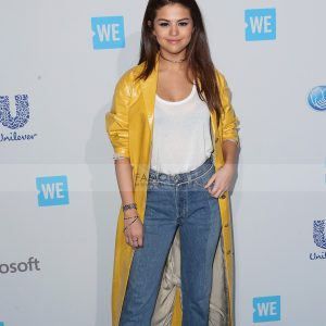Selena Gomez Yellow Leather Coat