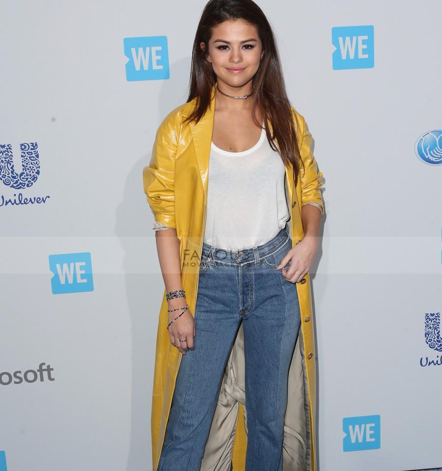 Selena Gomez Yellow Leather Coat