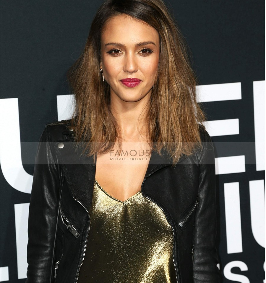 Jessica Alba Saint Laurent Black Leather Jacket