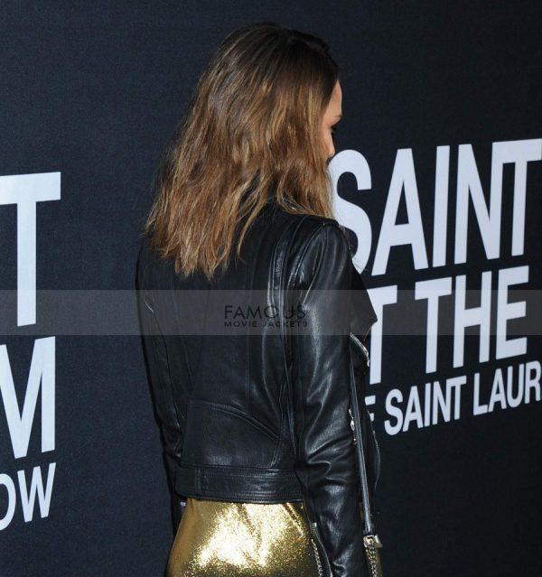 Jessica Alba Saint Laurent Black Leather Jacket