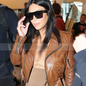 Kim Kardashian Brown Leather Jacket