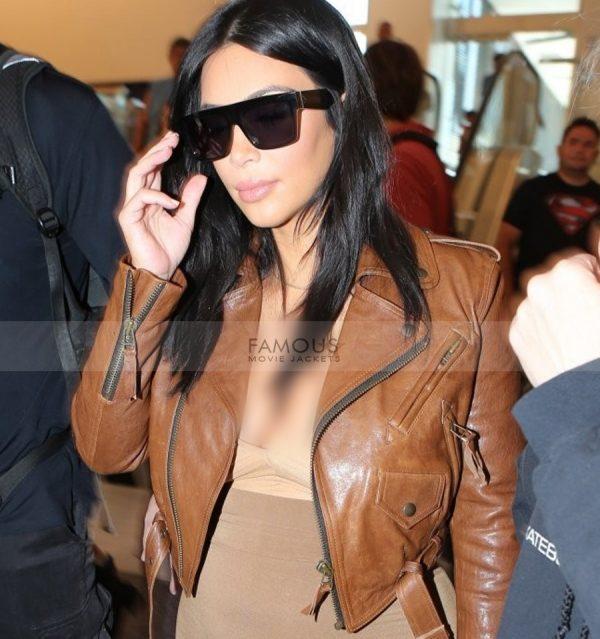 Kim Kardashian Brown Leather Jacket