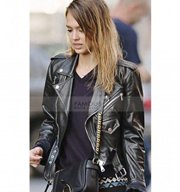 Jessica Alba Black Leather Biker Jacket