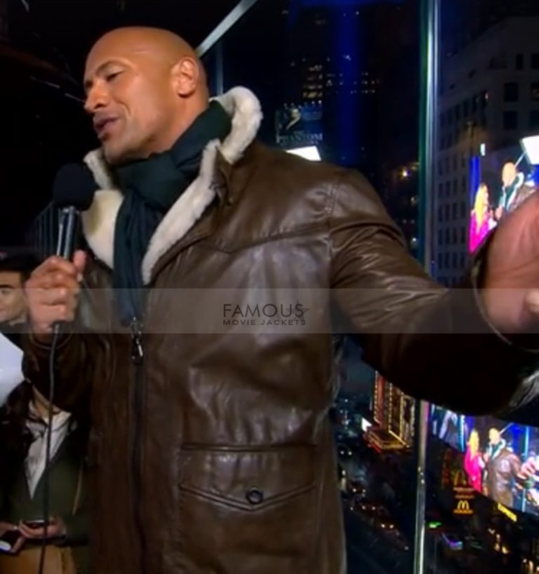 Dwayne Johnson Fur Brown Shearling Coat