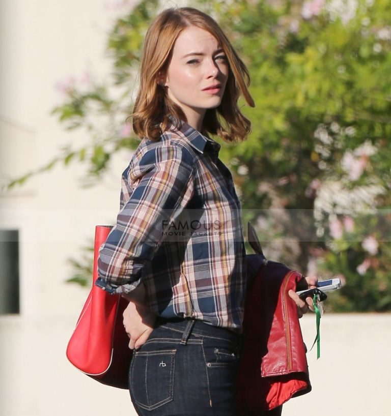 Emma Stone La La Land Mia Red Leather Jacket
