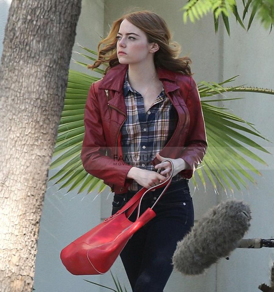 Emma Stone La La Land Mia Red Leather Jacket