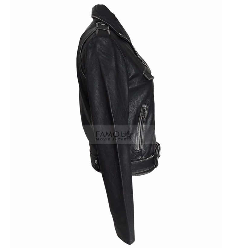 distressed leather slim fit jacket