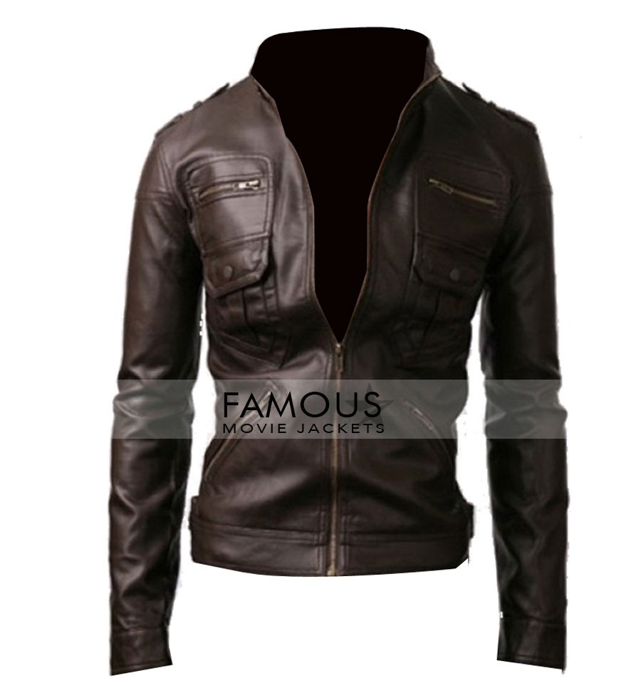 075185be3 Zip Pocket Slim Fit Dark Brown Leather Jacket