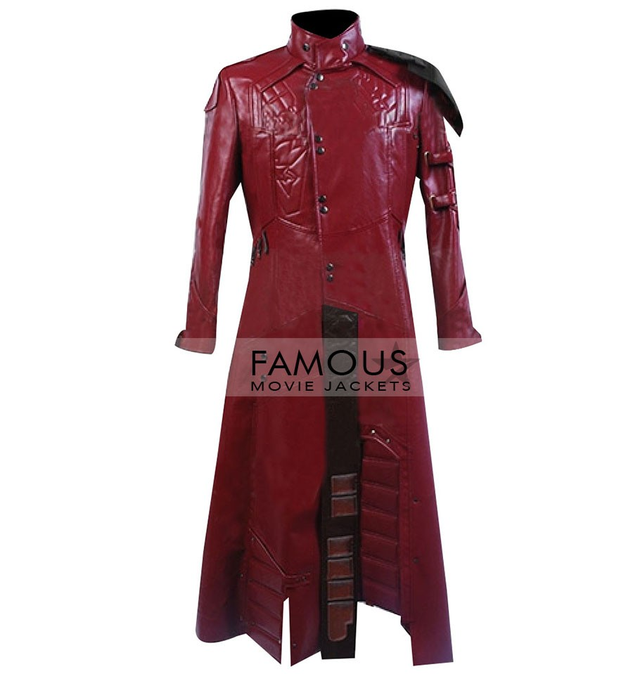 Star Red Leather Trench Coat Mens Costume Jacket Cosplay